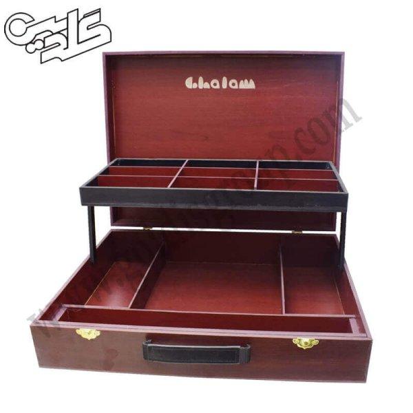 جعبه رنگ چوبی 2 طبقه لوکاس